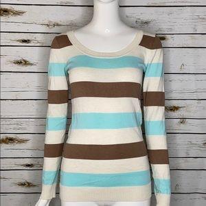 Women's stripped long sleeve scoop neck sweater